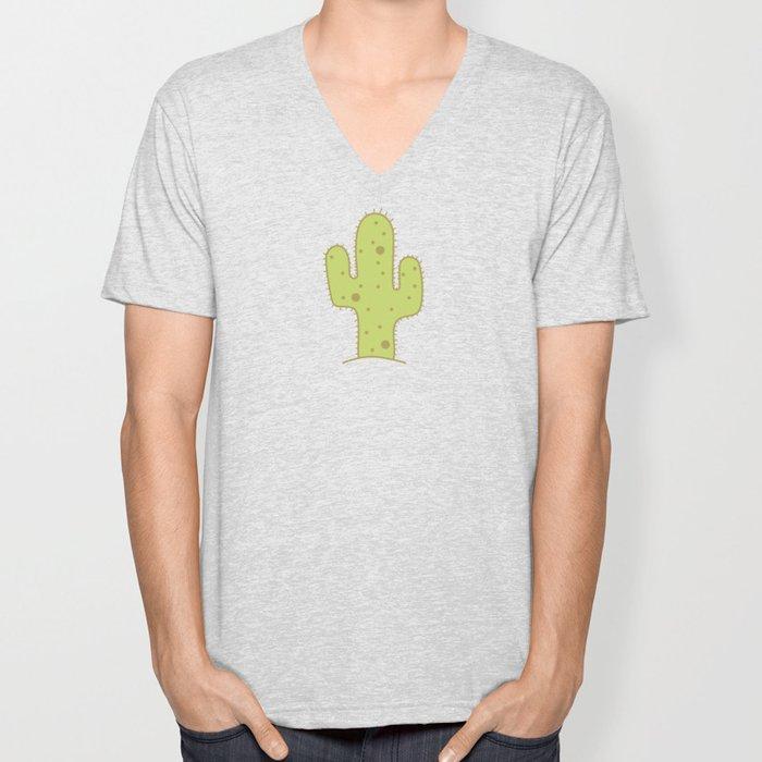 Cactus in sandy desert Unisex V-Neck