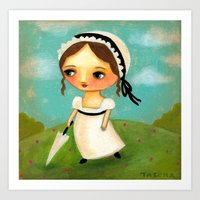 jane austen Art Prints featuring Jane Austen by tascha
