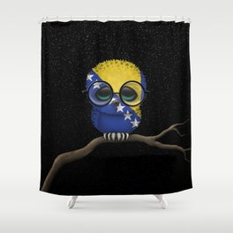 Baby Owl with Glasses and Bosnian Flag Shower Curtain