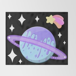 Melty Minty Planet Throw Blanket