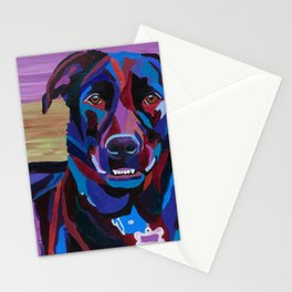 Colorful Lab/Shepherd Cross Stationery Cards