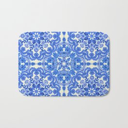 Cobalt Blue & China White Folk Art Pattern Bath Mat