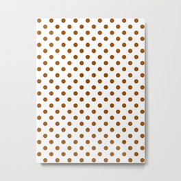 Small Polka Dots - Brown on White Metal Print