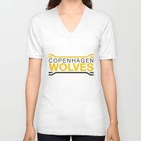 copenhagen V-neck T-shirts featuring Copenhagen Wolves by Thomas Official