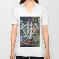 mythology V-neck T-shirts featuring Pyramus & Thisbe Collage Mythology Romeo and Juliet by FountainheadLtd