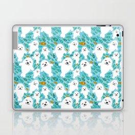 White cute fur seal and fish in water Laptop & iPad Skin