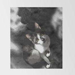 Gypsy Da Fleuky Cat and the Black Starry Night Throw Blanket