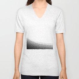 Diagonal  B and W Half Tone Unisex V-Neck