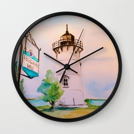 East Chop (Telegraph Hill) Lighthouse Martha's Vineyard Watercolor Wall Clock