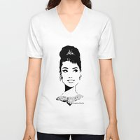tiffany V-neck T-shirts featuring Audrey in Tiffany by FloresArts