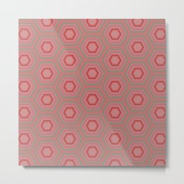 Mint Green and Coral Pink Hexagon Pattern Metal Print