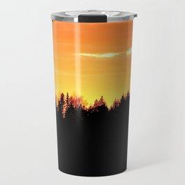 Black Forest Silhouette In Orange Sunset #decor #society6 Travel Mug