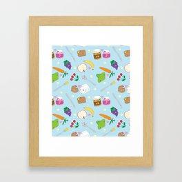 Kawaii Happy Snacks Toss Framed Art Print