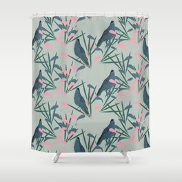 Kokako Wallpaper Pattern Shower Curtain