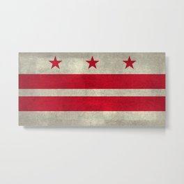 Washington D.C flag with worn vintage textures Metal Print