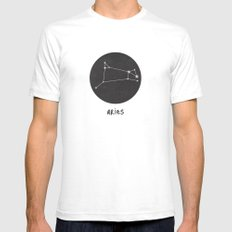Aries White Mens Fitted Tee SMALL