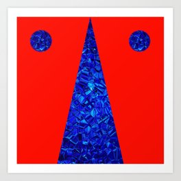 Red with blue polycon Art Print