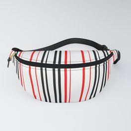 red black and white abstract striped pattern Fanny Pack