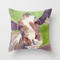 cow Throw Pillows featuring cow by Michele Petri