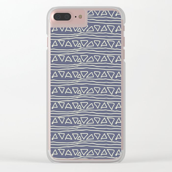 Blue Scribbles Pattern 03 Clear iPhone Case