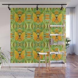GOLDEN BUTTERFLY GREEN GARDEN ALOE CACTUS PATTERNS, Wall Mural
