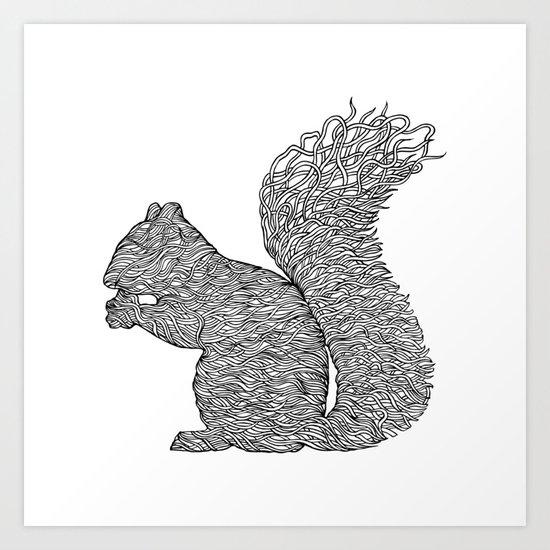 SQUIRREL LINES Art Print