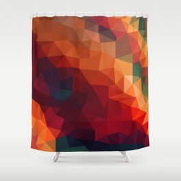 Burnt Jewel Low Poly Shower Curtain