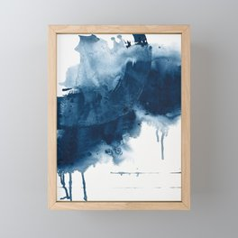 Where does the dance begin? A minimal abstract acrylic painting in blue and white by Alyssa Hamilton Framed Mini Art Print