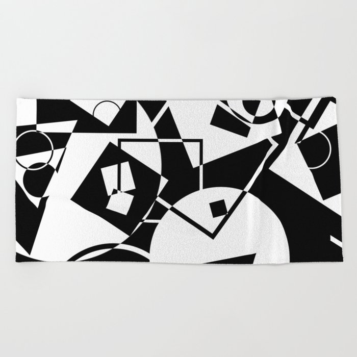 Simply Black And white - Abstract, geometric, retro, black and white random pattern Beach Towel