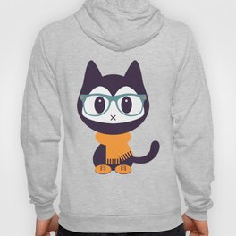 Cute kitten in scarf and glasses Hoody