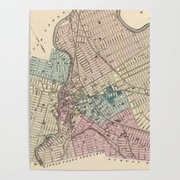 Vintage Map of Paterson New Jersey (1872) Poster
