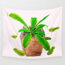 tropical pitcher plant watercolor painting Wall Tapestry