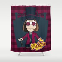 willy wonka Shower Curtains featuring Willy Wonka by 7pk2 online