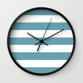 Crystal blue - solid color - white stripes pattern Wall Clock