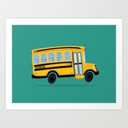 Cute School Bus Art Print