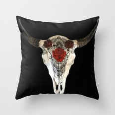 Bull Skull and Roses Throw Pillow
