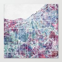 cleveland Canvas Prints featuring Cleveland map by MapMapMaps.Watercolors