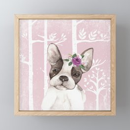 Animals in Forest - The little French Bulldog Framed Mini Art Print