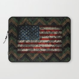 Green and Brown Military Digital Camo Pattern with American Flag Laptop Sleeve