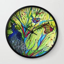 Peacock In Dreamland Wall Clock