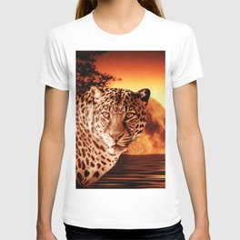 Leopard and Red Moon T-shirt