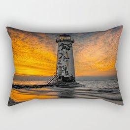 Talacre Beach Lighthouse Sunset Rectangular Pillow