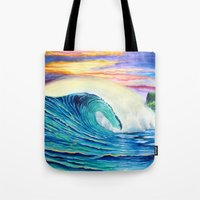 indonesia Tote Bags featuring  Surf Art  Indonesia by Surf Art Gabriel Picillo