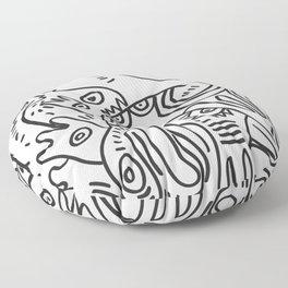 Graff Black and White Cool Non Sense Monsters  Floor Pillow