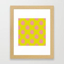Monstera Pattern in Lemon and Pink Framed Art Print