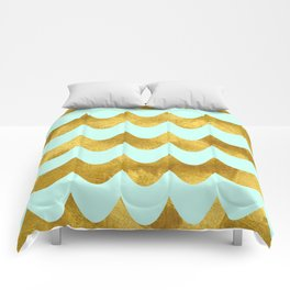 Mint Gold Foil 04 Comforters