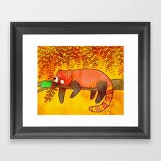 Sleepy Red Panda Framed Art Print
