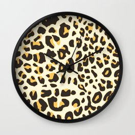 Trendy brown black abstract jaguar animal print Wall Clock