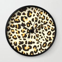 Trendy brown black abstract jaguar animal print Wall Clock
