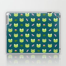 Frogs, Dragonflies and Lilypads on Teal Laptop & iPad Skin